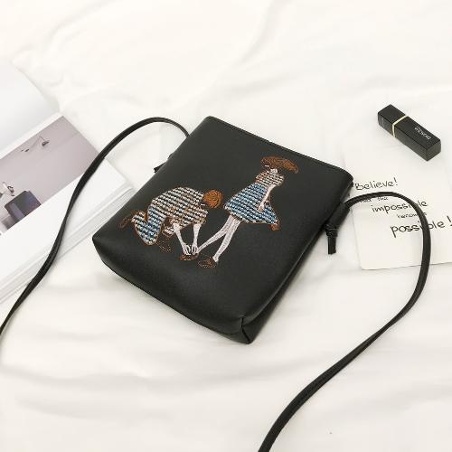 Novo saco de ombro em couro PU para mulheres Cute Cartoon Print Casual Crossbody Bags Menino Mini Bag Tote