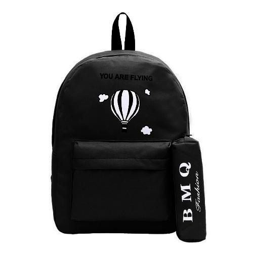Mode Frauen Gedruckt Rucksack Brief Front Zip Tasche Candy Farbe Schule Reise Shopping Rucksack Tasche