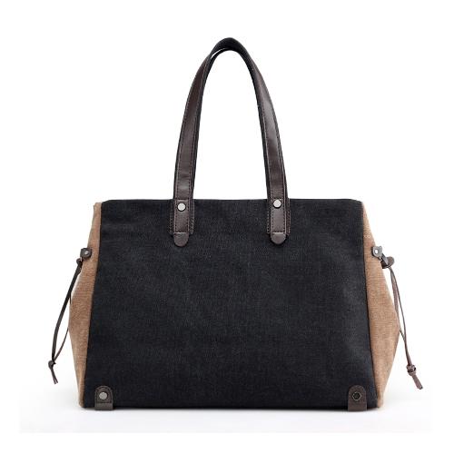 Moda Mulher Canvas Shoulder Bag Contraste Cor Grande capacidade Retro Casual Ladies Handbag Totes
