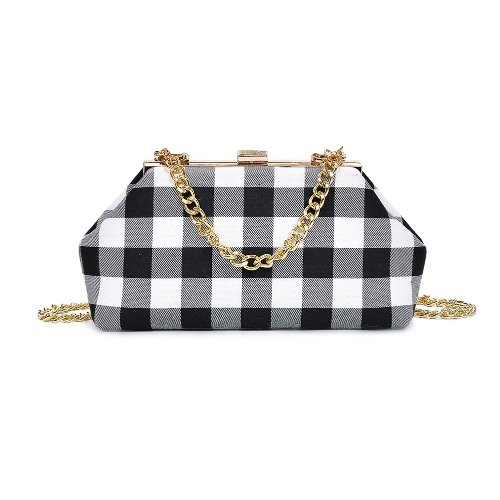Dziewczęta Damskie Crossbody Torba Clutch Bag Canvas Checkerboard Chain Strap Messenger Torebka na ramię Ladies Small Mini Bag Black / Red