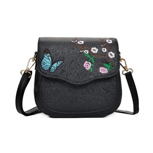 Mädchen Frauen Crossbody Tasche Schultertasche Stickerei Farbblock Elegante kleine PU Leder Nachricht Tasche