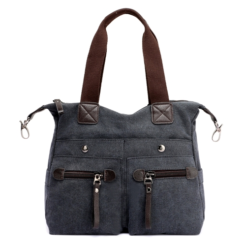 Fashion Women Canvas Handbag Casual Shoulder Bag Pockets Large Capacity Vintage Crossbody Tote Travel Bag