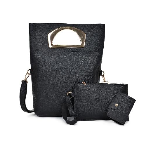 Kobiety trzyczęściowy torebka zestaw PU skórzany torba na ramię torba sprzęgła torba na zamek błyskawiczny na co dzień torba Crossbody