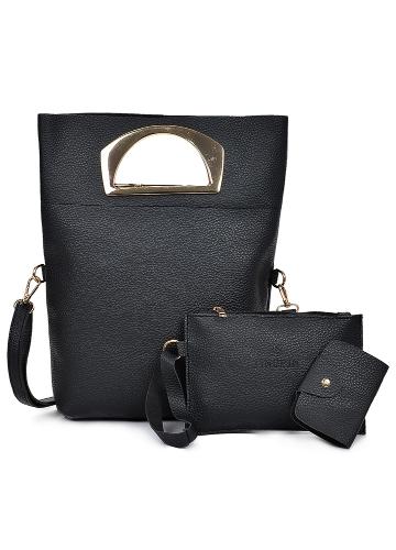 Women Three Piece Handbag Set PU Leather Shoulder Bag Clutch Bag Card Bag Zipper Casual Crossbody Bag