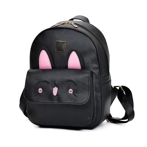 Neue Frauen Mädchen Rucksack PU Leder Kaninchen Ohr Casual Schüler Schultasche 4 Stück Set Schwarz / Beige / Pink