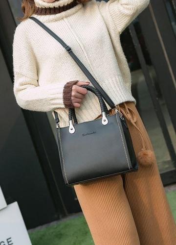 Vintage Women Distressed PU Leather Handbag Braided Handle Adjustable Strap Shoulder Crossbody Bag