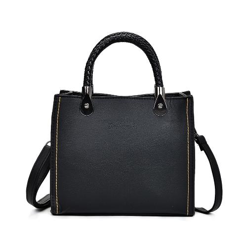 Vintage Women Distressed PU Leather Handbag Braided Handle ajustável Strap Shoulder Crossbody Bag