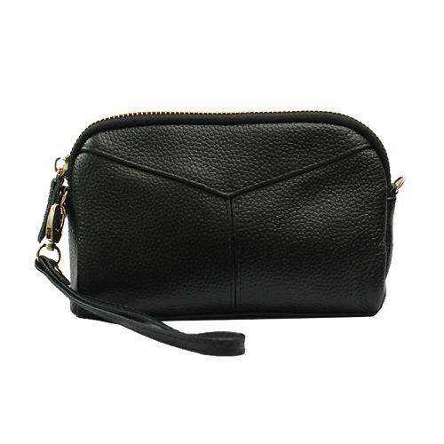 Clutch della borsa della signora della multi-chiusura lampo della borsa della grande capacità della frizione del raccoglitore del cuoio delle donne di modo