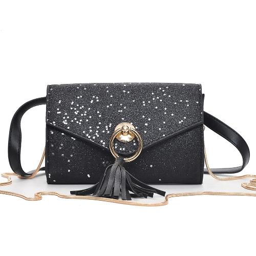 Moda damska Glitter PU Torba na ramię Tassel Decor Flapover Girls Mała torba Crossbody Black / Red / Champagne
