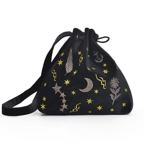 Kobiety Velvet Bucket Bag Haft Etui sznurkowe Słodkie ramię Crossbody Torby Burgundy / Gray / Black