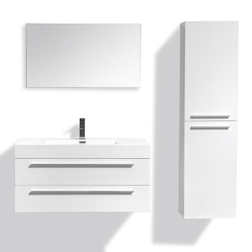 Meuble salle de bain en bois avec simple vasque - 3 coloris disponibles