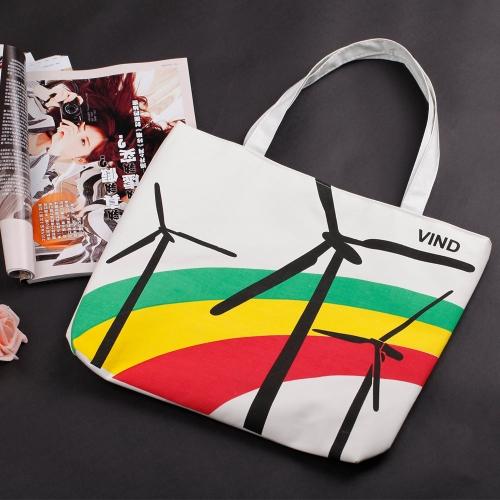 Neue Fashion Damen Handtasche hübsch Print Farbe blockieren Schultertasche Tote Bag