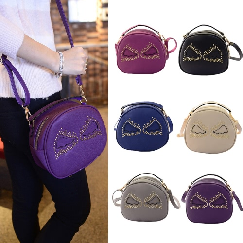 Fashion Women Shoulder Bag PU Leather Cute Wings Rivet Round Shape Mini Messenger Bag Handbag