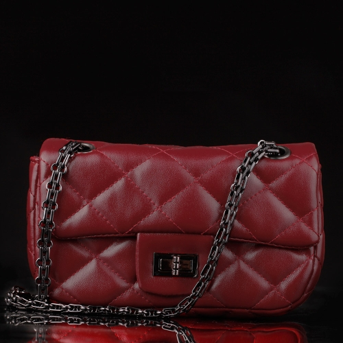 Bolso PU cuero Twist Lock cuadros bolso Mini bandolera de la cadena de moda mujer