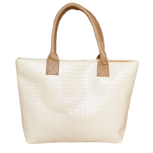 Fashion Women Handbag PU Leather Woven Design Zipper Top Grab Handle Solid Color Shoulder Bag