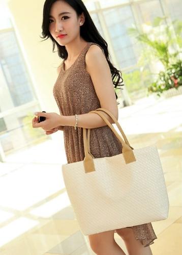 Cuero de la PU de moda las mujeres bolso tejido diseño cremallera superior Grab asa bandolera de Color sólido