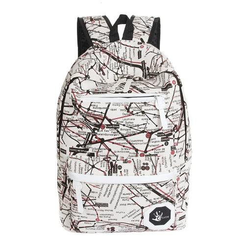 Moda Unisex cremallera impresión colorida cierre cremallera bolsillo acolchado correa escuela viaje mochila