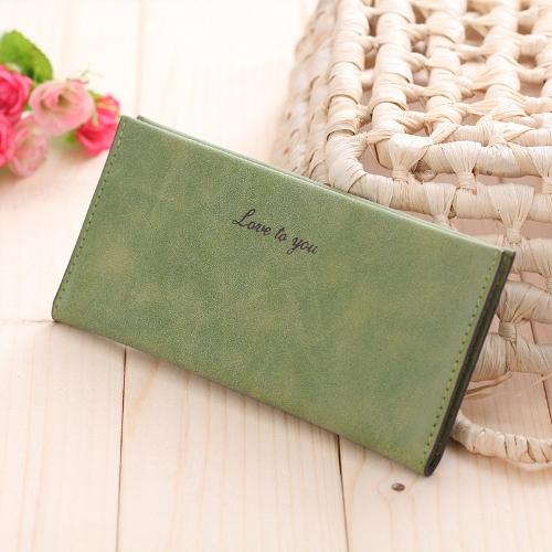 Nueva moda mujer larga cartera cuero de PU suave Color caramelo titular de la tarjeta monedero Casual