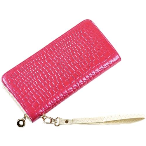 Nueva moda mujer largo monedero patrón de piedra patente PU cuero Color caramelo tarjeta cartera bolso de mano bolso de la moneda