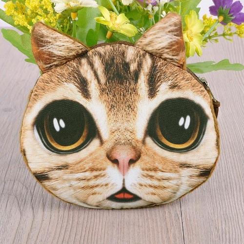 Linda moda mujeres moneda monedero gato Monedero Mini impresión Animal cierre pequeño embrague bolso de la cremallera