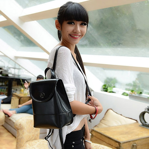 New Fashion Women Backpack Candy Color PU Leather Twist Lock Drawstring Closure School Bag