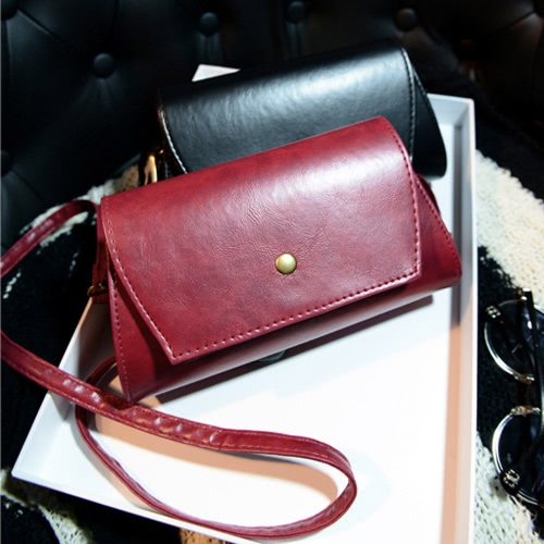 Fashion Women Shoulder Bag PU Leather Flap Front Magnetic Press Stud Closure Crossbody Bag