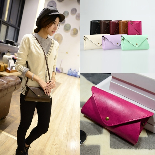 New Fashion Women Shoulder Bag PU Leather V Shape Flap Solid Design Crossbody Messenger Bag