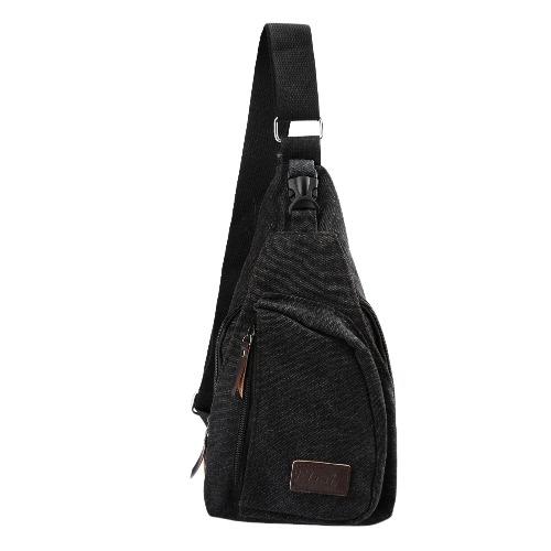 Lona bolso militar cremallera bolsillo viajes bandolera Vintage Hombre bolso pequeño negro/de color caqui/café de senderismo