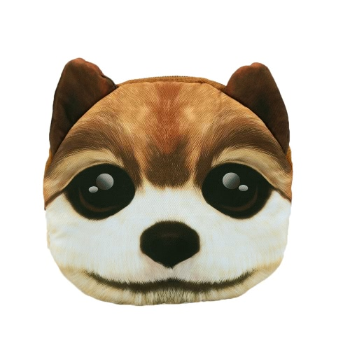 Moda mujer bandolera perro lindo Animal cabeza imprime cremallera cierre correa desmontable Mini bandolera