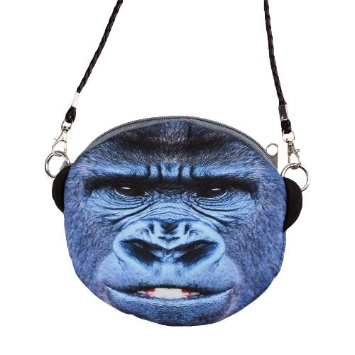 Nueva moda mujer bandolera lindo Animal cabeza imprime correa desmontable Mini bandolera