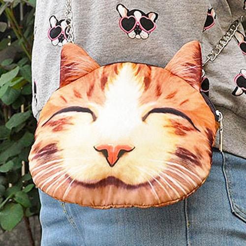 かわいいファッション女性クロスボディ バッグ猫動物印刷ジッパー閉鎖小さなショルダー チェーン バッグ