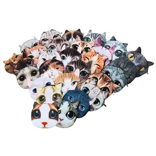 Милые мода женщин Crossbody мешок кошка животных печати молния закрытия малых цепи сумка фото