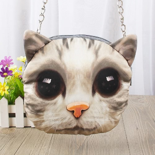 Linda moda mujer bandolera gato cremallera impresión Animal cierre pequeña cadena bandolera