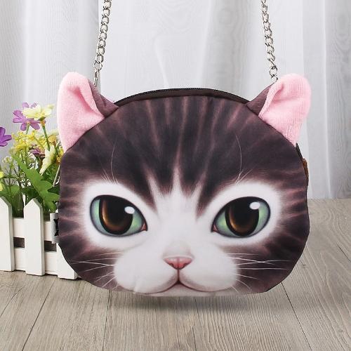 Cute Fashion Women Crossbody Bag Cat Animal Print Zipper Closure Small Shoulder Chain Bag