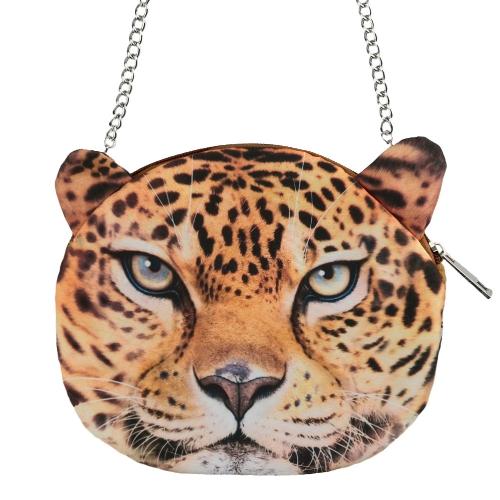 Linda moda mujeres cadena bolsa Animal grabado cierre correa extraíble de Metal pequeño embrague bolso de la cremallera