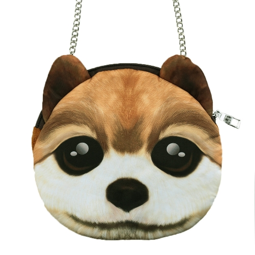 Linda moda mujer bandolera perro cara cabeza cremallera impresión Animal cierre pequeño hombro cadena bolso