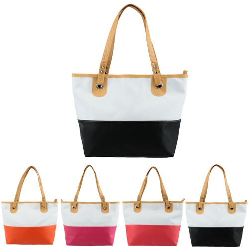 Fashion Women Handbag PU Leather Contrast Candy Color Patchwork Large Capacity Zip Casual Shoulder Bag Tote B0141RO