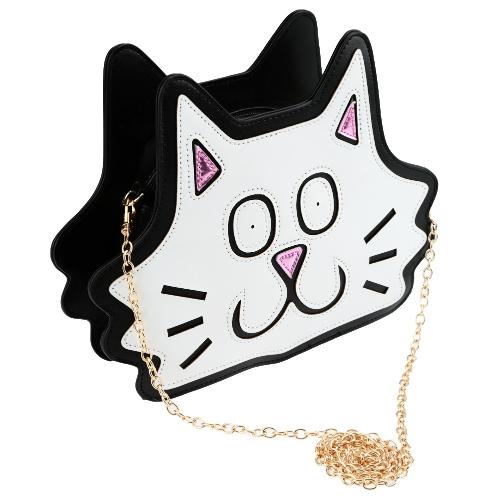 Cute Fashion Women Shoulder Bag Cat Shape Zipper Metal Chain Strap Casual Crossbody Bag White