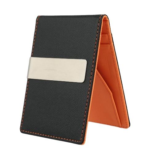 Nueva moda hombres Clip piel sintética delgada cartera ID tarjeta de crédito titular efectivo Clip del dinero