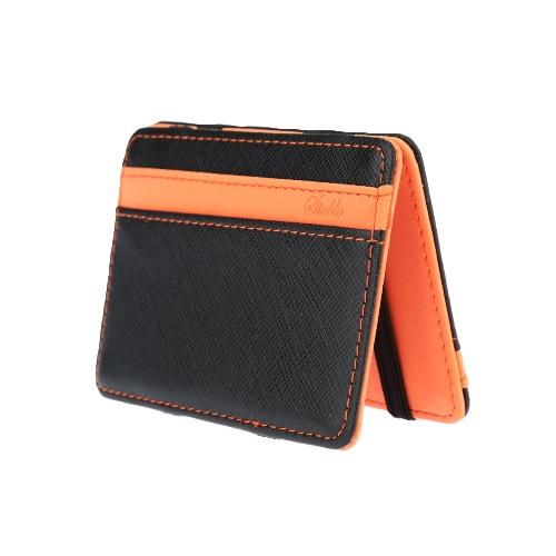 Nova moda homens dinheiro cartão ID titular PU couro dobra Design Business cartão de crédito titular Clip verde / laranja