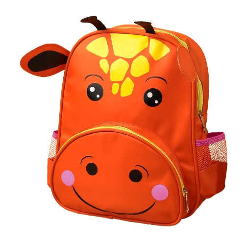 New Kids Backpack Cartoon Animal Print Adjustable Straps Zipper Closure Boys Girls Schoolbag