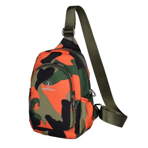 Las nuevas mujeres ocasionales de la manera del bolso de Crossbody Multi-bolsillo de camuflaje militar de impresión de la cremallera del bolso de hombro Bolso pequeño bolso al aire libre en el pecho