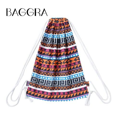 Mulheres Moda Drawstring Backpack Imprimir Geometric College Girls estudante mochila preta / laranja / rosa
