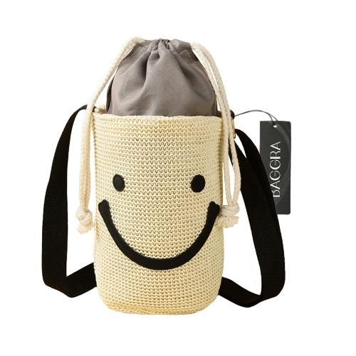New Fashion Women Crossbody Shoulder Bags Woven Smile Pattern Casual Cute Small Beach Bag Handbag