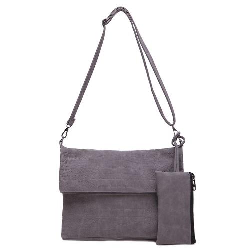 Nueva moda mujer bandolera PU aleta cremallera frontal bolsillo mensajero bolso bolso de embrague dos piezas de cuero