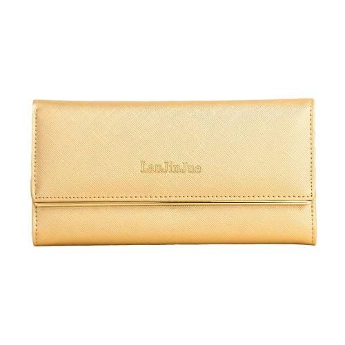 Neue Mode Frauen lange Brieftasche PU Leder Volltonfarbe Button Coin Geldbeutel Kartenhalter