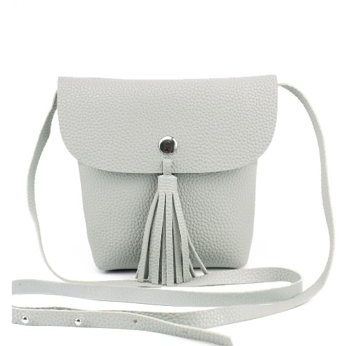New Mode féminine Sac bandoulière PU Leathe Flap Tassel Solid Color Unlined Press Stud Casual Sac bandoulière