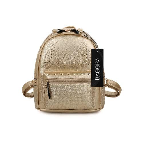 New Fashion Women Girls Leather Backpack Rivet Woven Small Bag Zipper Multi Pockets Hiking Travel Bag Gray/Gold/Black