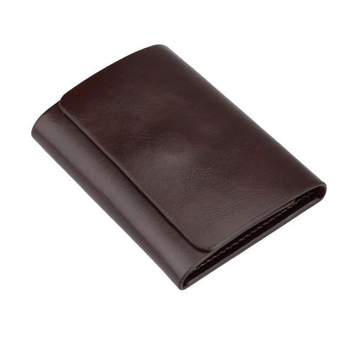 Moda hombres dinero Clip cartera cuero corta tarjeta titular triple imán negocio Mini cartera café/marrón
