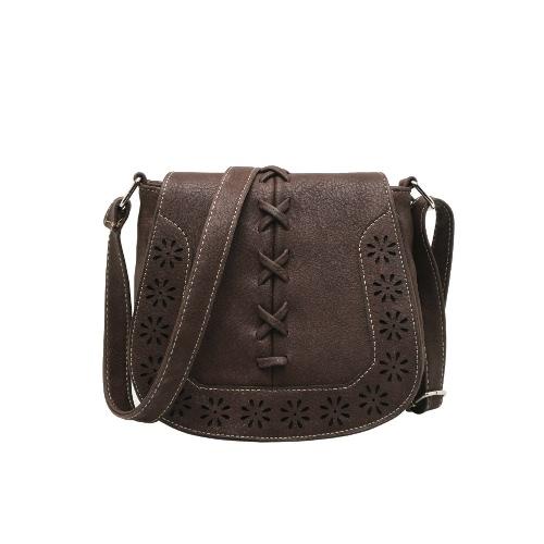 Nueva moda mujer bandolera PU Leahther aleta trenza hueco bolsa de Crossbody Vintage correa de hombro ajustable